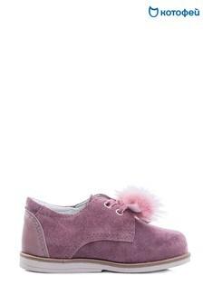 Розовые замшевые ботинки с помпонами Kotofey