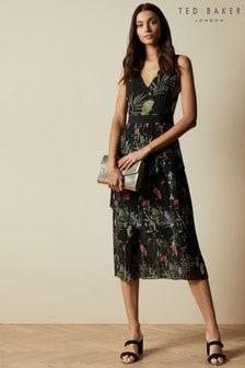 Ted Baker Black Malinae Highland Tiered Pleated Midi Dress