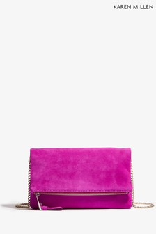 Karen Millen Magenta Updated Brompton Clutch Bag