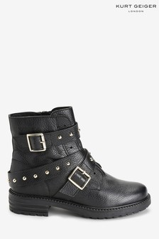 Kurt Geiger London Black Stinger Stud Strap Boots