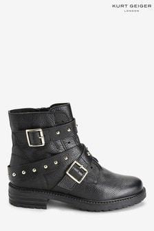 Kurt Geiger London Black Stinger Stud Strap Boots
