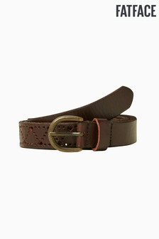 FatFace Brown Heart Cut-Out Leather Belt