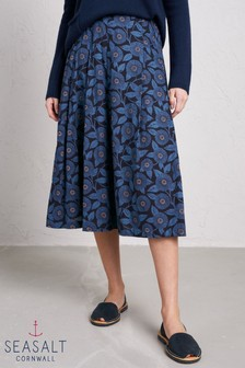 Seasalt Blue Mist Skirt Printed Blooms Dark Night