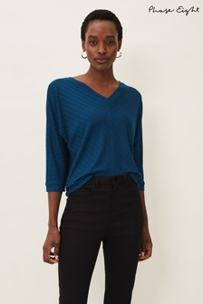 Phase Eight Blue Ana V-Neck Chevron Top