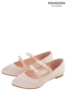 נעליים בגזרת שפיץ מעוגלת עם פפיון כפול מסאטן של Monsoon דגם Vivienne בוורוד בהיר