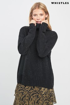 Whistles Grey Cashmere Roll Neck Jumper