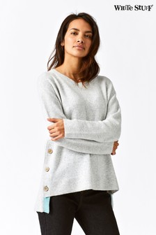 White Stuff Grey Café Button Side Jumper