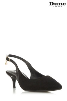 Dune London Wide Fit Cinda Black Suede Heel Slingbacks