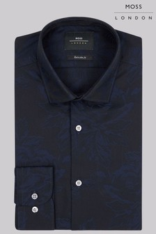 Moss London Extra Slim Fit Navy Single  Jacquard Shirt