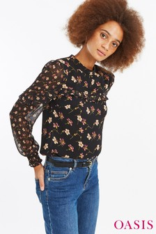 Oasis Black Frieda Floral Patched Long Sleeve Chiffon Top