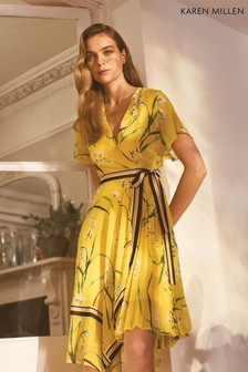 Karen Millen Yellow Pleated Floral Midi Dress
