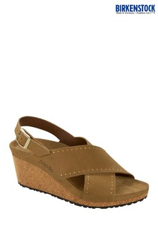 Papillio by Birkenstock® Tan Leather Wedge Sandals