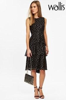 Wallis Black Foil Flower Tiered Dress