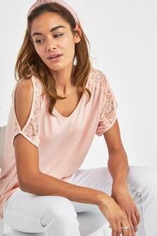 20ae8620de21c Lace Cold Shoulder T-Shirt