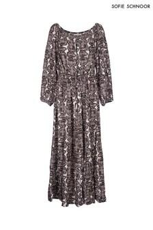 Sofie Schnoor Snake Print Bardot Maxi Dress