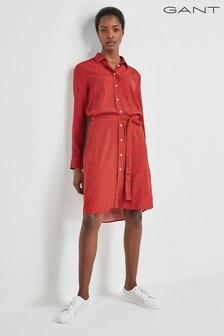 GANT Orange Harvest Print Shirt Dress