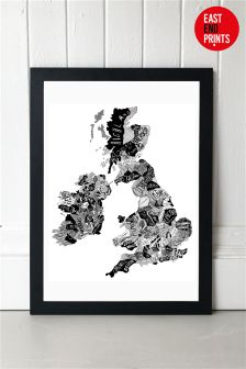 Hand Drawn Map by Ruggero Tommasini Framed Print