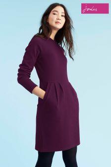 Joules Burgundy High Neck Jersey Dress