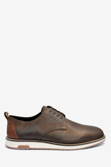 Wedge Sole Leather Derby Shoes