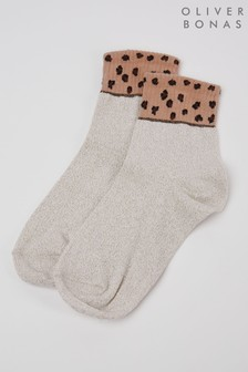 Oliver Bonas White Animal Colourblock Ankle Socks