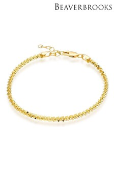 Beaverbrooks Yellow Gold Plated Sterling Silver Sparkle Cut Anklet
