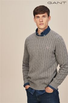 GANT Grey Cotton Cable Crew Knit Jumper