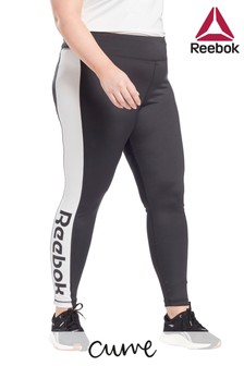 Reebok Black Curve Linear Logo Leggings