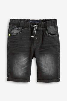 מכנסי ג'ינס קצרים מג'רזי ללא רוכסן (גילאי 3 עד 16)