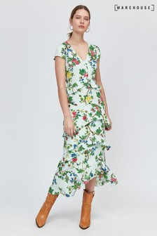 Warehouse Green Ruffle Floral Midi Dress