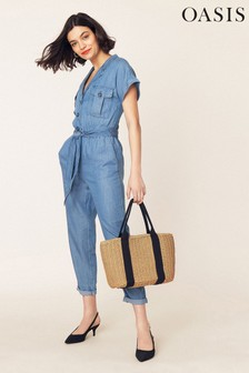 Oasis Denim Blue Utility All-In-One