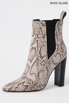 Bottines Chelsea River Island motif serpent fauves à bout pointu