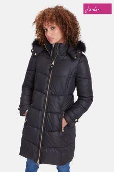 Joules Black Snowbury Long Quilted Coat