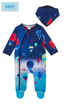 baker by Ted Baker Baby Boy Balloon Print Sleep Suit And Bib