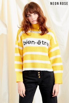 Neon Rose Yellow Bien Etre Slogan Stripe Crop Knit