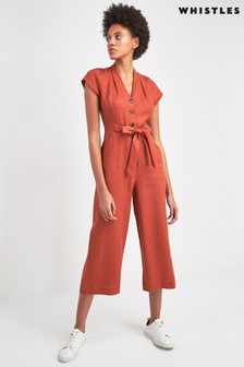 Whistles Rust Sana Linen Jumpsuit