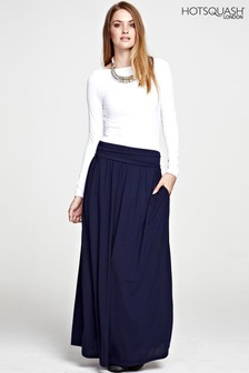 HotSquash Inky Navy Luxury Roll Top Maxi Skirt