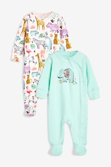 Watercolour Elephant Sleepsuits Two Pack (0mths-2yrs)
