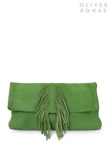 Oliver Bonas Green Veda Tassel Front Clutch Bag