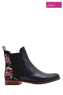Joules Black Westbourne Embroidered Boot