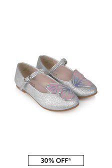 Girls Silver And Pastel Butterfly Flat Shoes