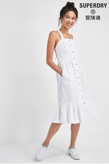 Superdry White Camille Button Schiffli Dress