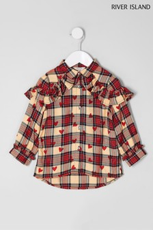 River Island Red Check And Heart Print Shirt