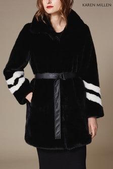 Karen Millen Black Graphic Fur Effect Coat