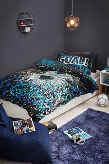 Pixel Football Reversible Duvet Cover and Pillowcase Set