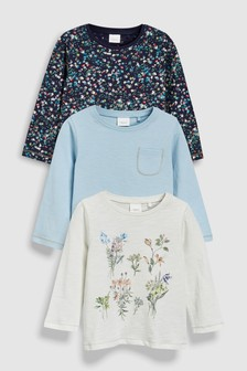 Floral Long Sleeve T-Shirts Three Pack (3mths-7yrs)