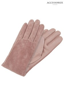 Accessorize Pink Stitch Detail Suede Glove