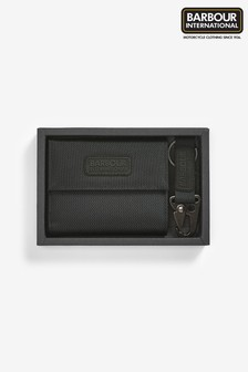 Barbour® International Black Wallet And Keyring Gift Set
