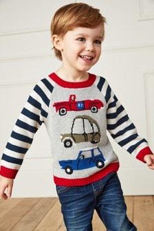 Suéter de ganchillo con coches (3 meses-7 años)