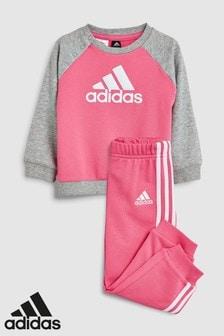 adidas Baby Solar Pink Trefoil Crew Set