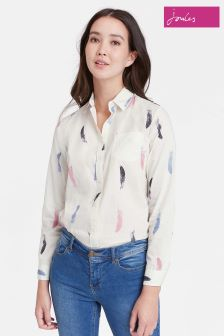 Joules Cream Feather Print Lucie Classic Fit Shirt